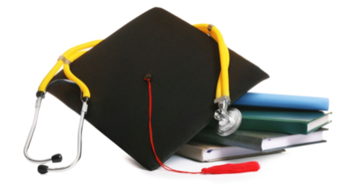 Picture of graduation cap, books and tools
